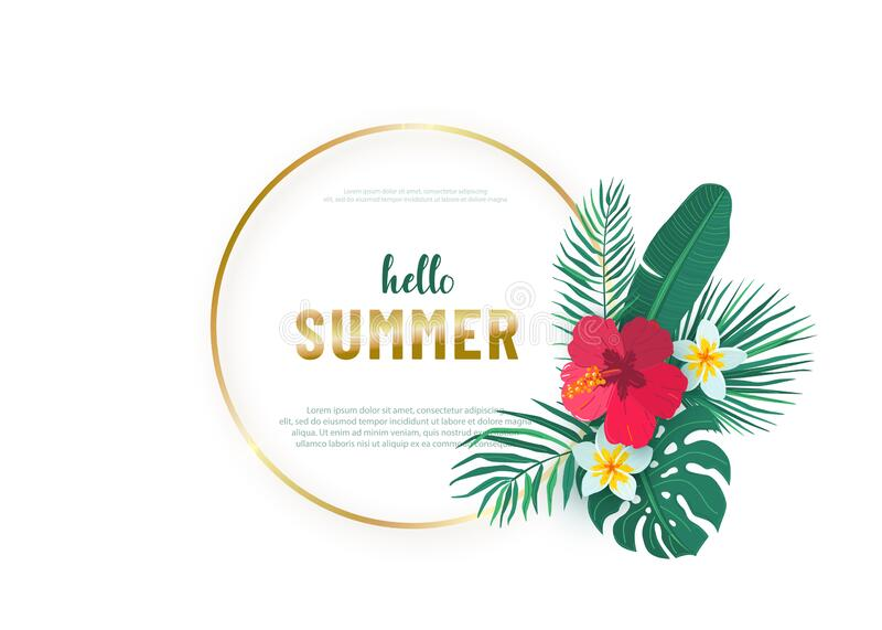 Round gold frame with tropical hawaii flower leaves bouquet vector background. Composition with exotic plants in simple stock images