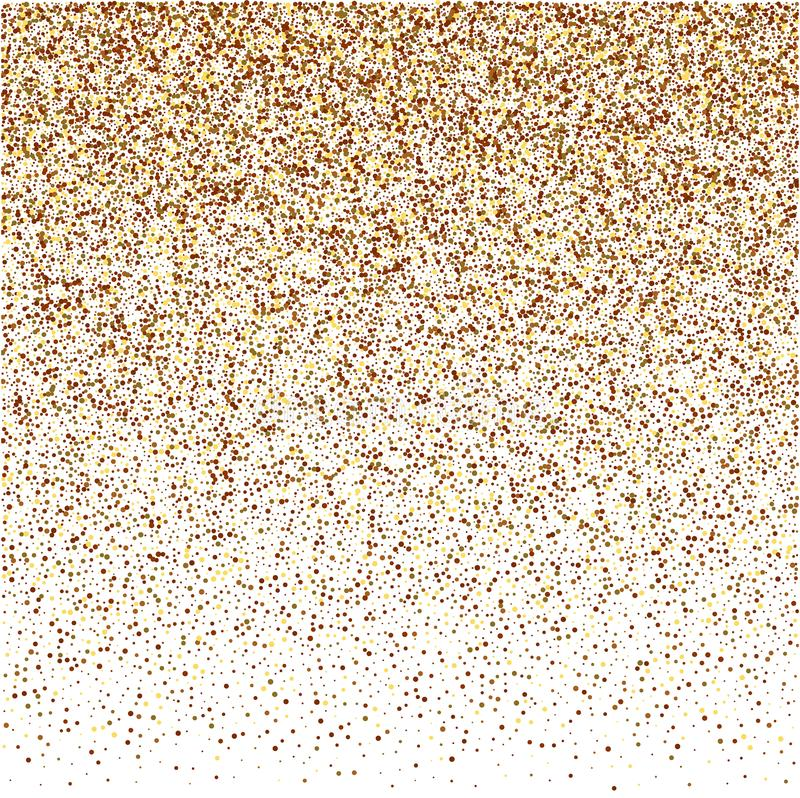 Round gold glitter luxury sparkling confetti. Scattered small gold particles on white background. vector illustration