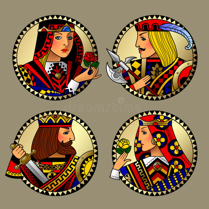 Round gold shapes with faces of playing cards characters stock illustration