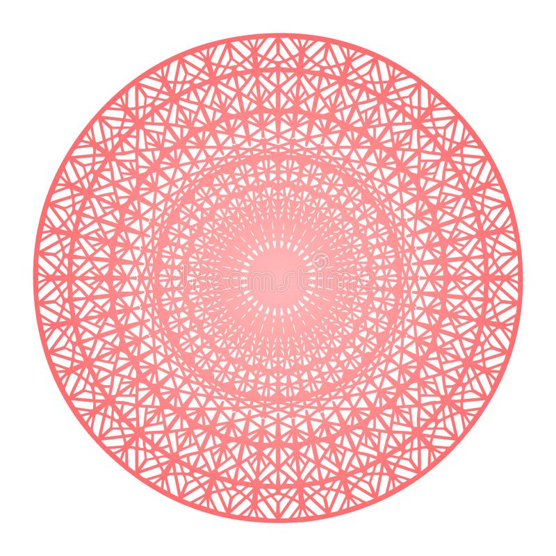 Round gradient mandala on white isolated background. Vector boho mandala in red colors. Mandala with floral patterns stock illustration