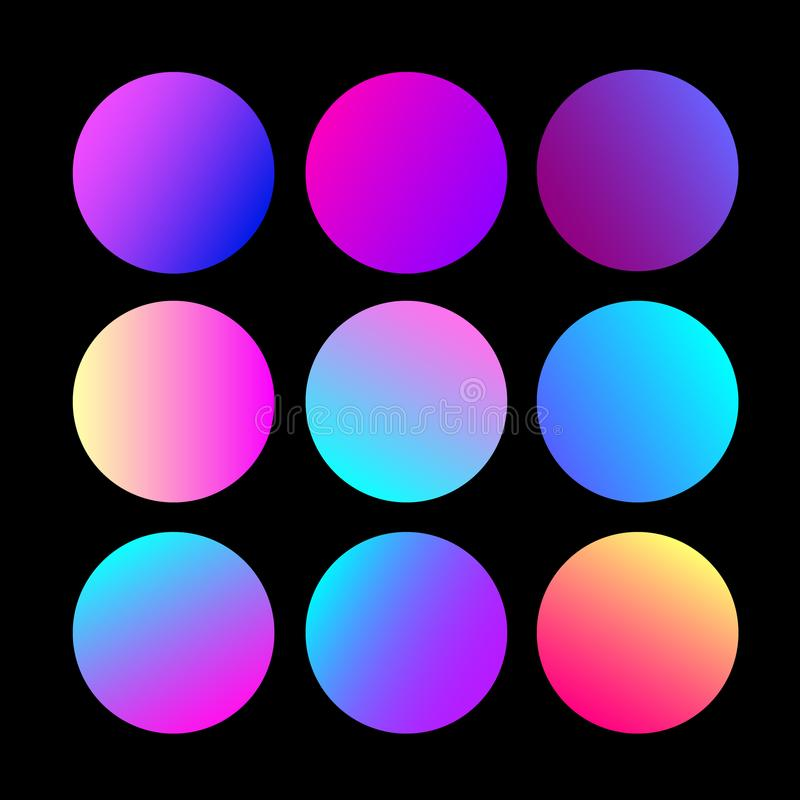 Round Gradients Set with Modern Abstract Backgrounds. Trendy and Modern Colors Gradient for Website. Circle Gradients Set for Web, royalty free illustration