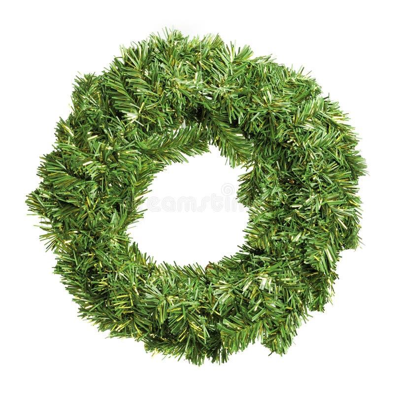 Round green christmas wreath stock photo