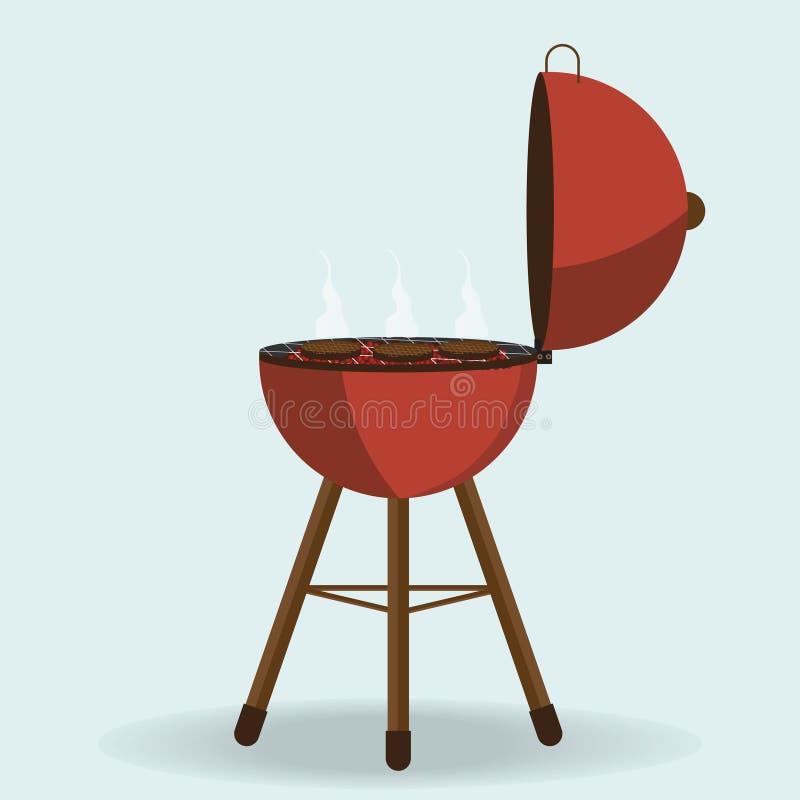 Round grilla grill odizolowywający na bielu ilustracji