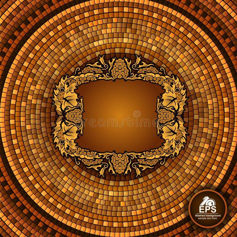 Round grka płytki geometryczny tło z winogrono ramą w centrum ilustracji