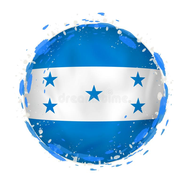 Round grunge flag of Honduras with splashes in flag color vector illustration