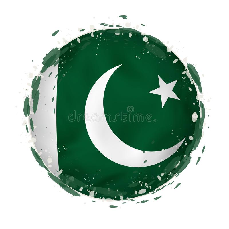 Round grunge flag of Pakistan with splashes in flag color stock illustration