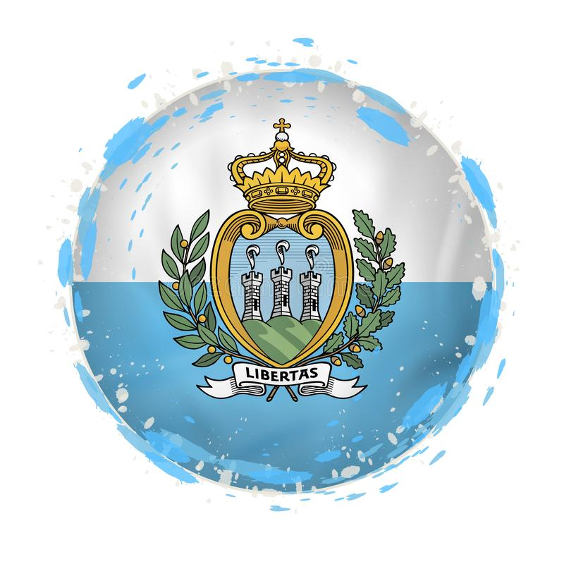 Round grunge flag of San Marino with splashes in flag color stock illustration
