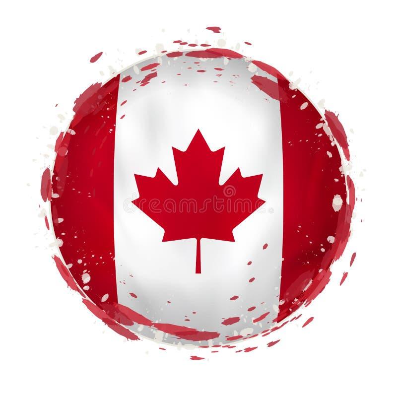 Round grunge flaga Kanada z pluśnięciami w chorągwianym kolorze ilustracji