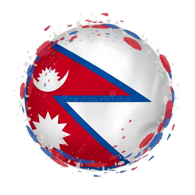 Round grunge flaga Nepal z pluśnięciami w chorągwianym kolorze ilustracja wektor