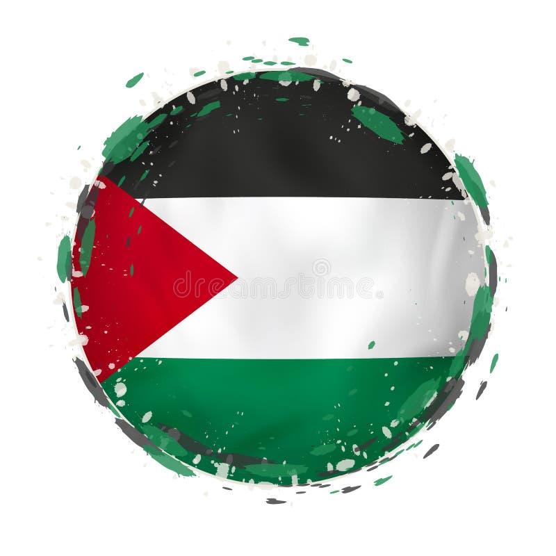 Round grunge flaga Palestyna z pluśnięciami w chorągwianym kolorze royalty ilustracja