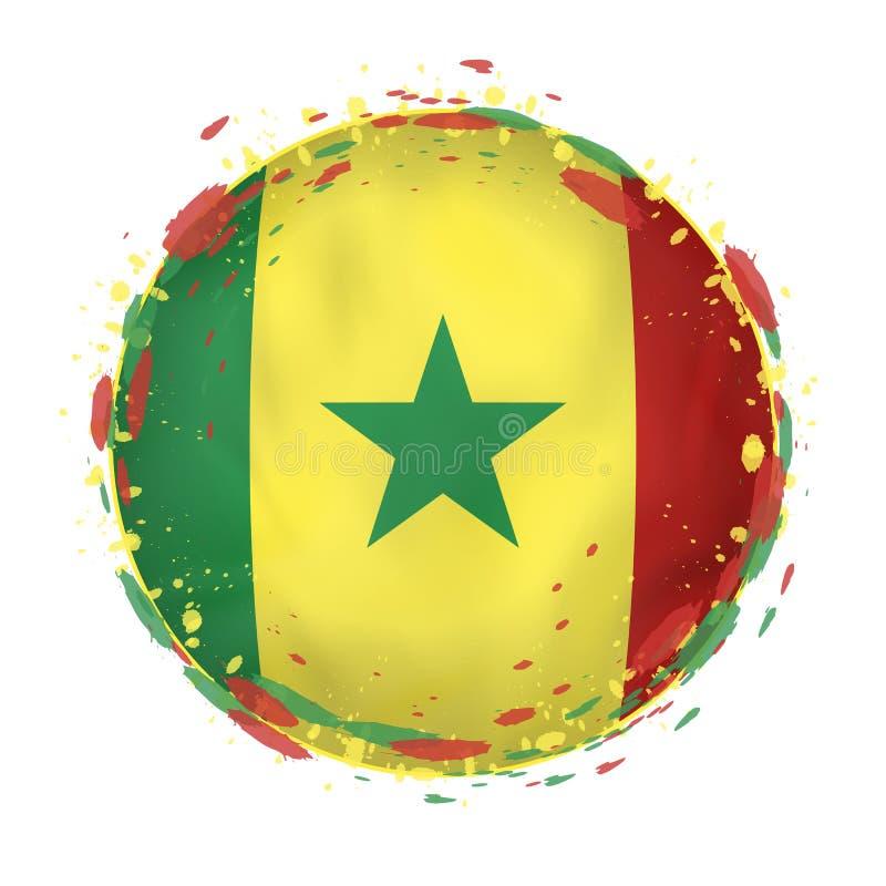 Round grunge flaga Senegal z pluśnięciami w chorągwianym kolorze royalty ilustracja