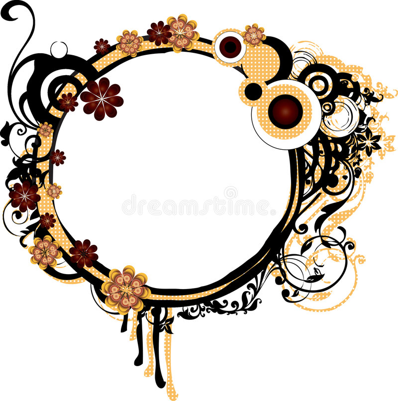 Download Round Grunge Frame With Arabesques Stock Illustration - Illustration of arabesque, floral: 9024159