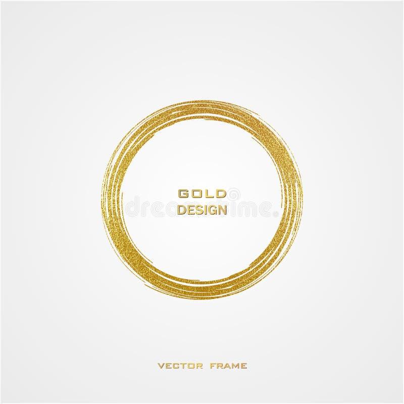 Round grunge golden frame on on transparent background. Circle luxury vintage border,. Round Grunge Golden Frame on white background. Circle luxury vintage stock illustration