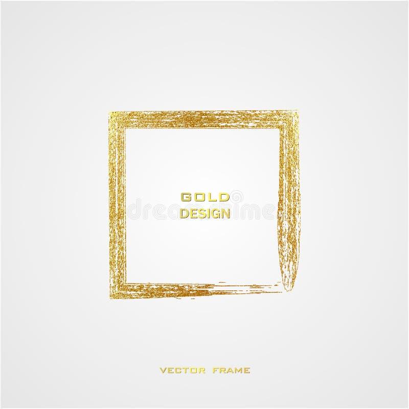 Round grunge golden frame on on transparent background. Circle luxury vintage border,. Grunge golden frame on white background. Square luxury vintage border stock illustration