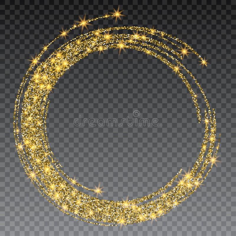 Round grunge złota rama na w kratkę tle Okręgu rocznika luksusowa granica, etykietka, loga projekta element ręka patroszona royalty ilustracja