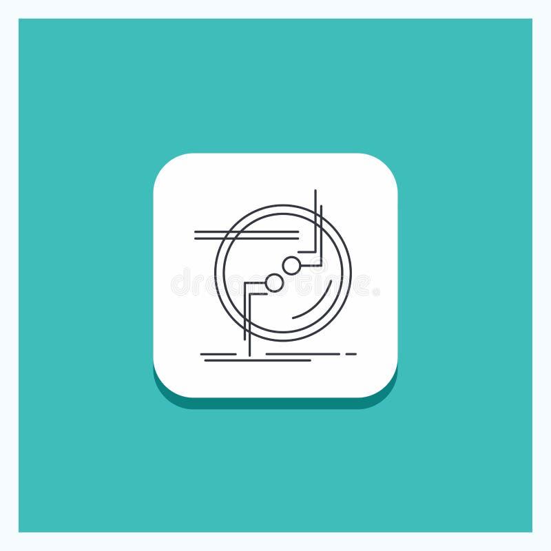 Round guzik dla łańcuchu, łączy, związek, połączenie, drut ikony turkusu Kreskowy tło ilustracji