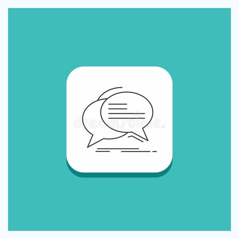 Round guzik dla bąbla, gadka, komunikacja, mowa, rozmowy ikony turkusu Kreskowy tło ilustracja wektor