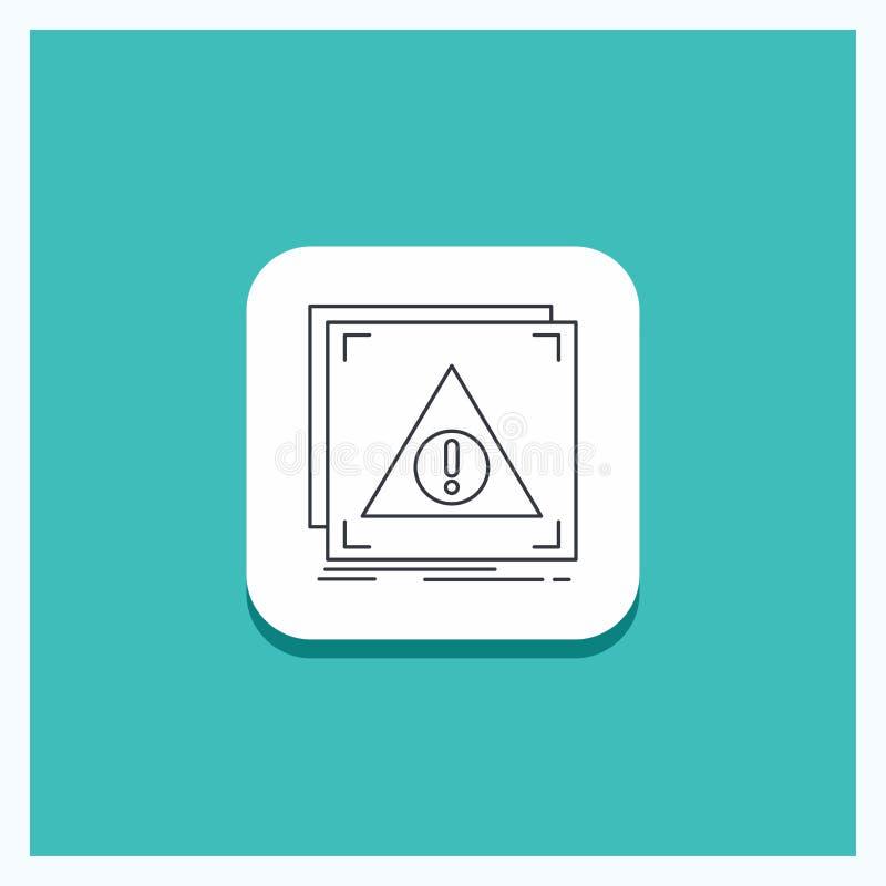 Round guzik dla błędu, zastosowanie, Zaprzeczający, serwer, ostrzeżenie ikony turkusu Kreskowy tło royalty ilustracja