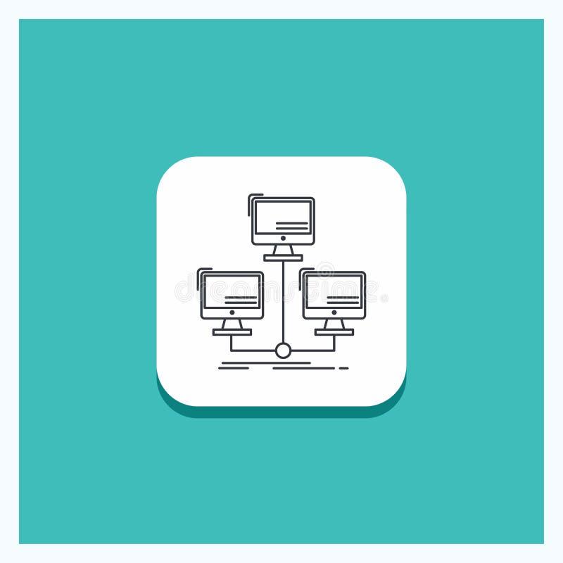 Round guzik dla baza danych, zakłócający, związek, sieć, komputerowej linii ikony turkusu tło royalty ilustracja