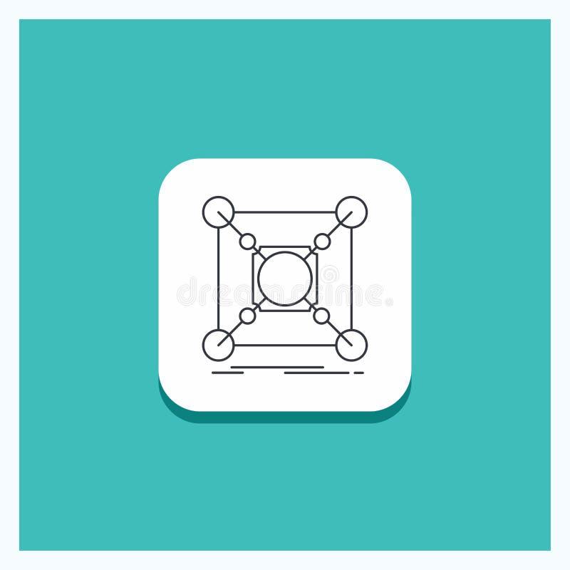 Round guzik dla bazy, centrum, związek, dane, centrum ikony turkusu Kreskowy tło ilustracja wektor