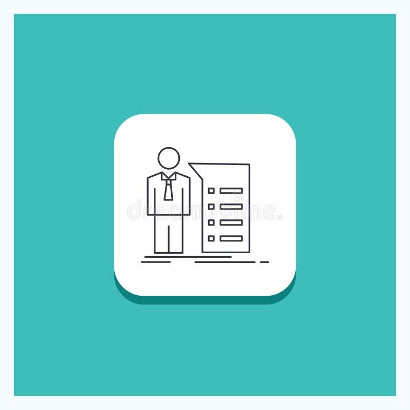 Round guzik dla biznesu, wyjaśnienie, wykres, spotkanie, prezentacji ikony turkusu Kreskowy tło ilustracja wektor