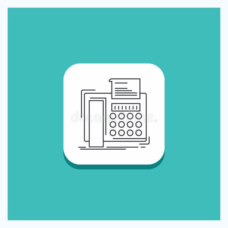 Round guzik dla faksu, wiadomość, telefon, telefaks, komunikacyjnej linii ikony turkusu tło ilustracja wektor