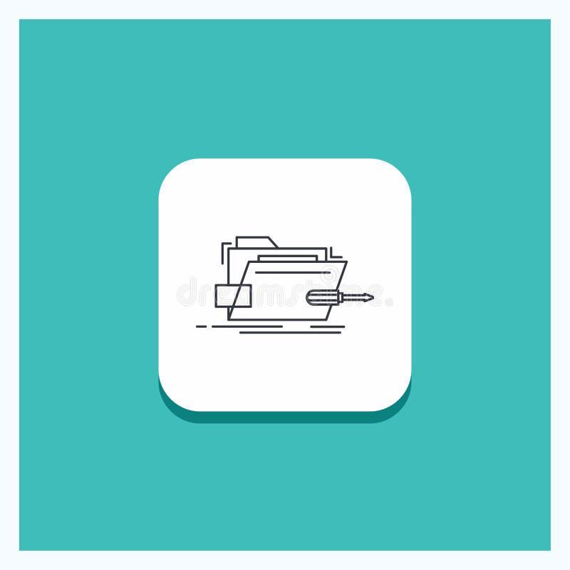 Round guzik dla falcówki, naprawa, skrewdriver, technika, techniczny Kreskowy ikona turkusu tło ilustracji