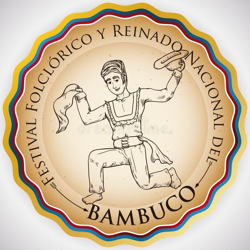 Round guzik dla Kolumbijskiego Ludoznawczego festiwalu z Bambuco tancerzem, Wektorowa ilustracja ilustracja wektor