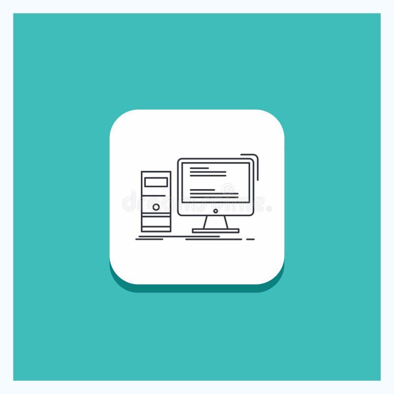 Round guzik dla komputeru, desktop, hazard, komputer osobisty, ogłoszenie towarzyskie ikony turkusu Kreskowy tło ilustracja wektor