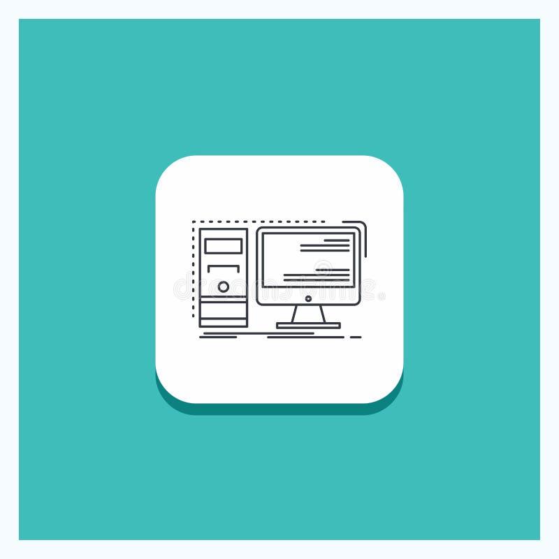 Round guzik dla komputeru, desktop, narzędzia, stacja robocza, system ikony turkusu Kreskowy tło ilustracji