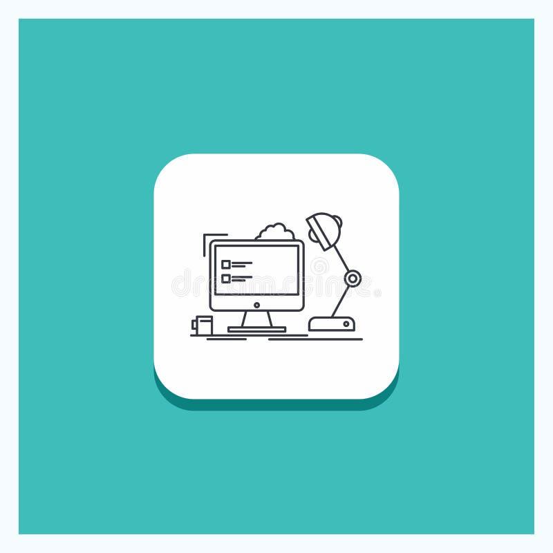 Round guzik dla miejsce pracy, stacja robocza, biuro, lampa, komputerowej linii ikony turkusu tło ilustracja wektor