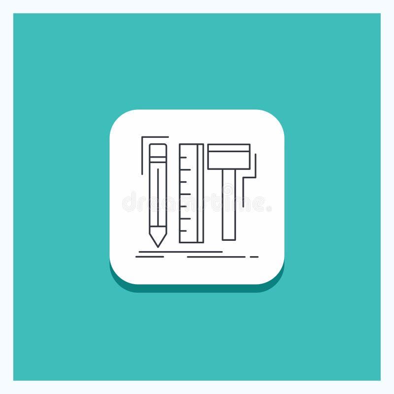 Round guzik dla projekta, projektant, cyfrowy, narzędzia, ołówek ikony turkusu Kreskowy tło ilustracja wektor