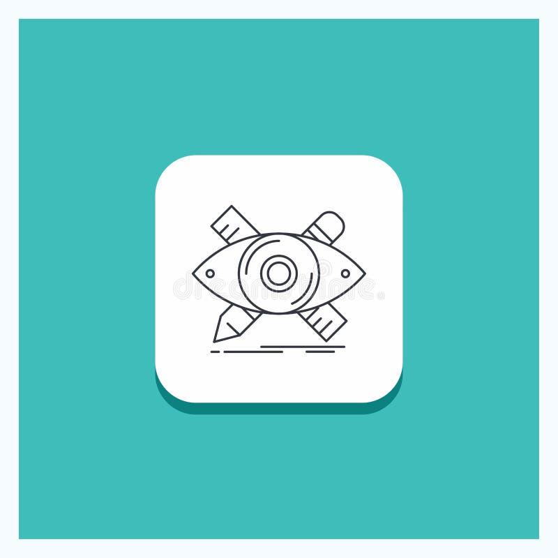 Round guzik dla projekta, projektant, ilustracja, nakreślenie, narzędzia Wykłada ikona turkusu tło royalty ilustracja