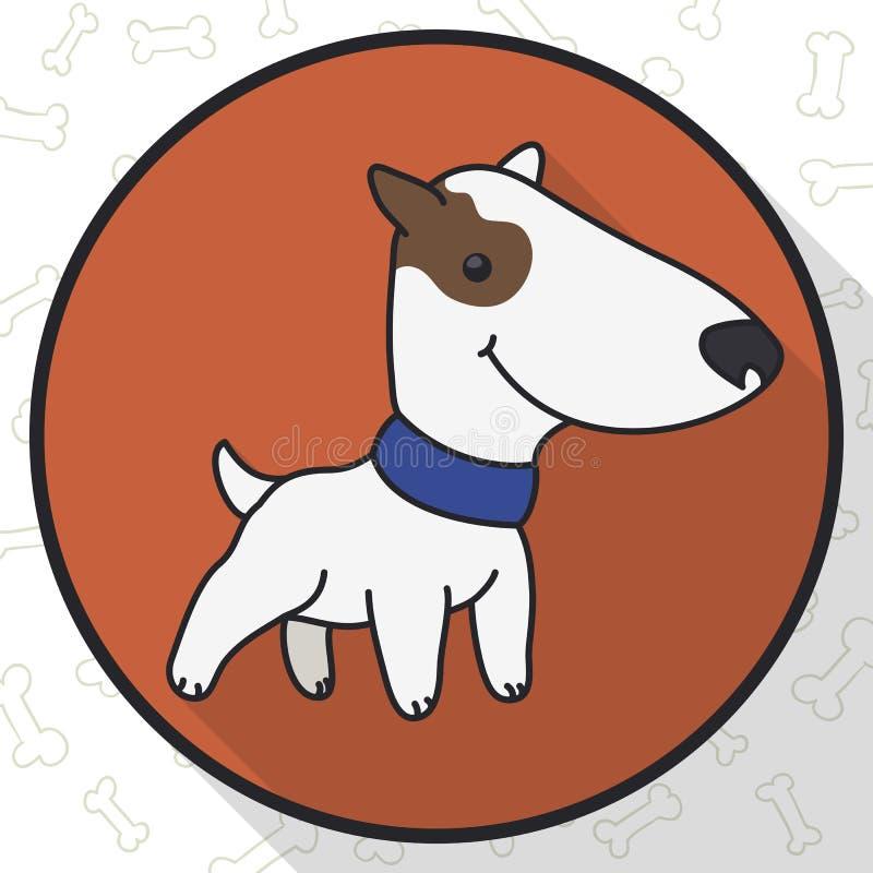 Round guzik z Ślicznym Bull Terrier w mieszkanie stylu, Wektorowa ilustracja ilustracji