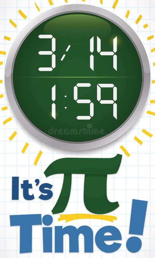 Round guzik z godziną dla Pi dnia i czasem, Wektorowa ilustracja ilustracja wektor