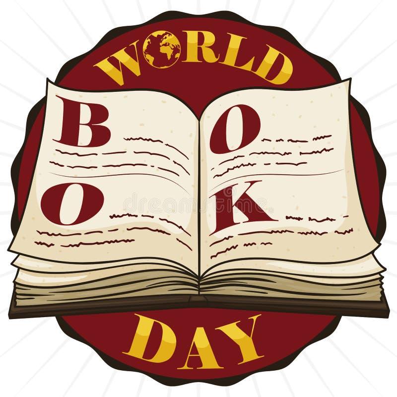 Round guzik z książką Otwartą dla świat książki dnia świętowania, Wektorowa ilustracja royalty ilustracja