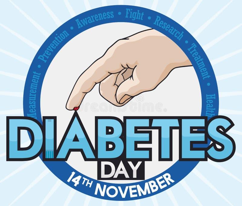 Round guzik z ręką Bierze cukieru test dla cukrzyca dnia, Wektorowa ilustracja ilustracja wektor