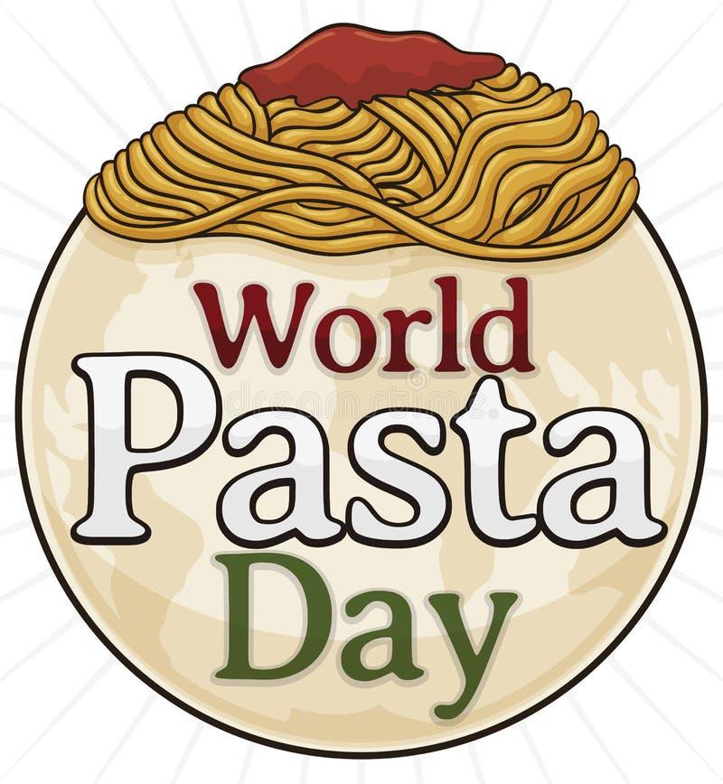 Round guzik z spaghetti i kulą ziemską dla Światowego makaronu dnia, Wektorowa ilustracja royalty ilustracja