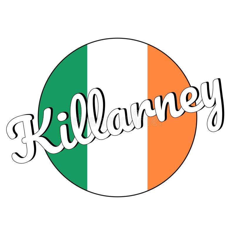 Round guzika ikona flaga państowowa Irlandia z zielenią, bielem i pomarańcze, barwi i inskrypcja miasta imię Killarney zdjęcia stock