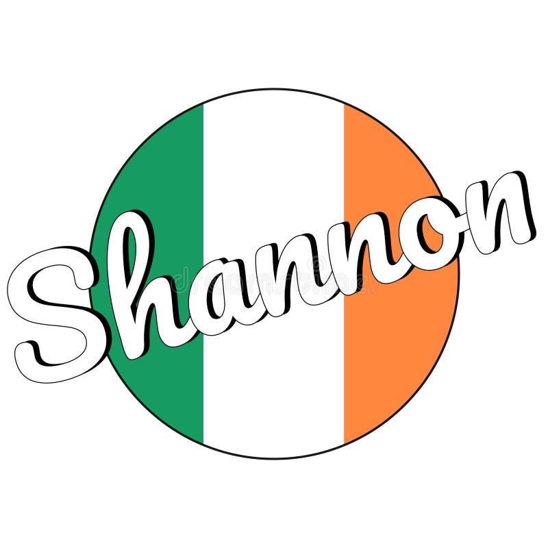 Round guzika ikona flaga państowowa Irlandia z zielenią, bielem i pomarańcze, barwi i inskrypcja miasta imię Shannon obraz stock