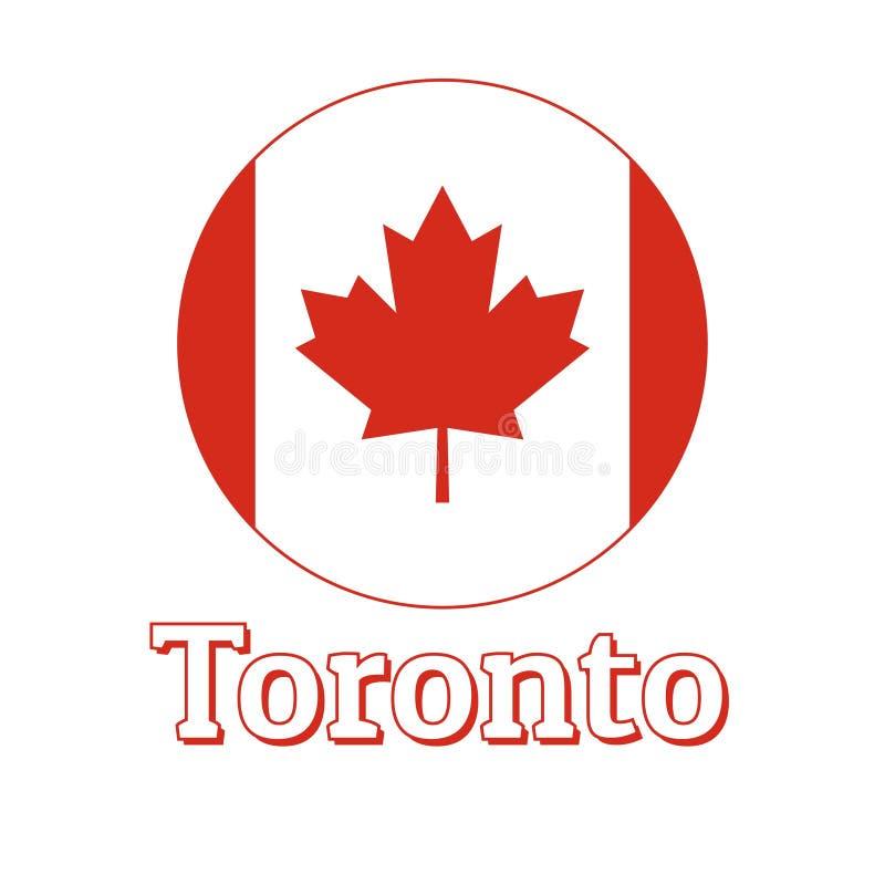Round guzika ikona flaga państowowa Kanada z czerwonym liściem klonowym na białym literowaniu miasta imię i tle ilustracja wektor
