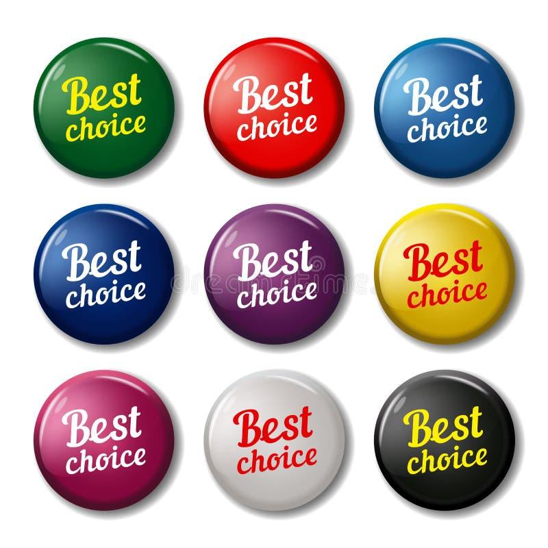 Round guziki z teksta ` Najlepszy wyborowy ` ilustracja wektor