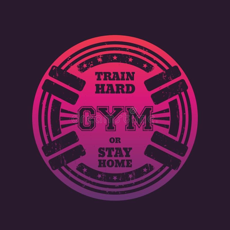 Round gym emblemat, logo, odznaka z barbells royalty ilustracja