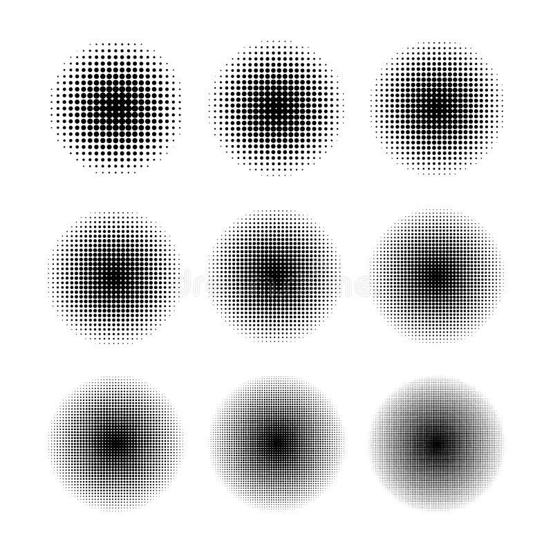 Round halftone ekranu wzory z różnym kropka rozmiarem na bielu ilustracji