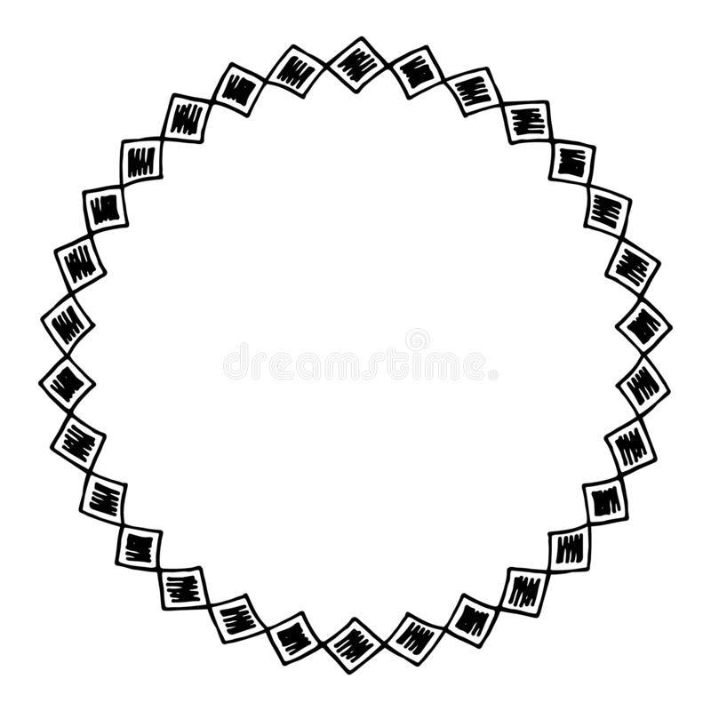 Round hand drawn frame, stunning border, circle, can be used as a background for greeting cards, business cards, logo stock illustration