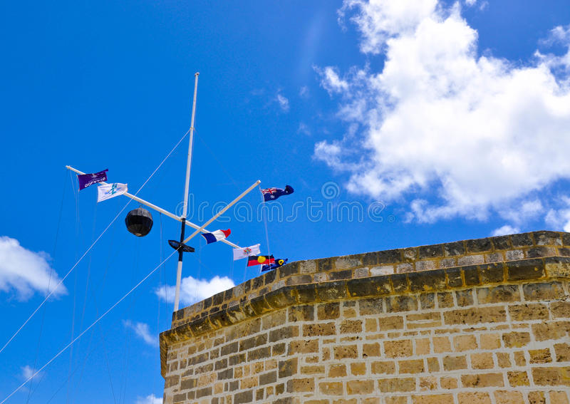The Round House: Historic Colonial Architecture with Flag Array royalty free stock photo