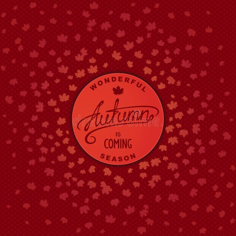 Round icon autumn is coming vector illustration