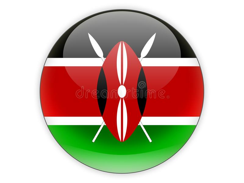 Round icon with flag of kenya vector illustration