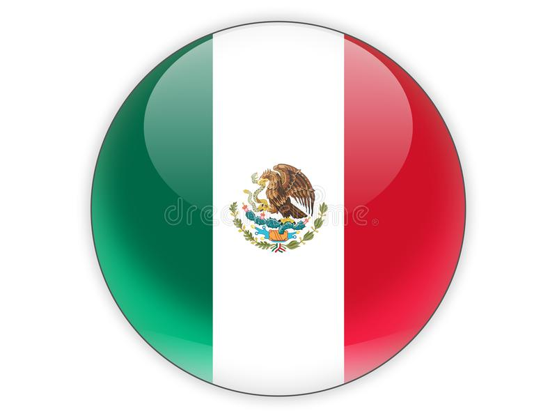 Round icon with flag of mexico royalty free illustration