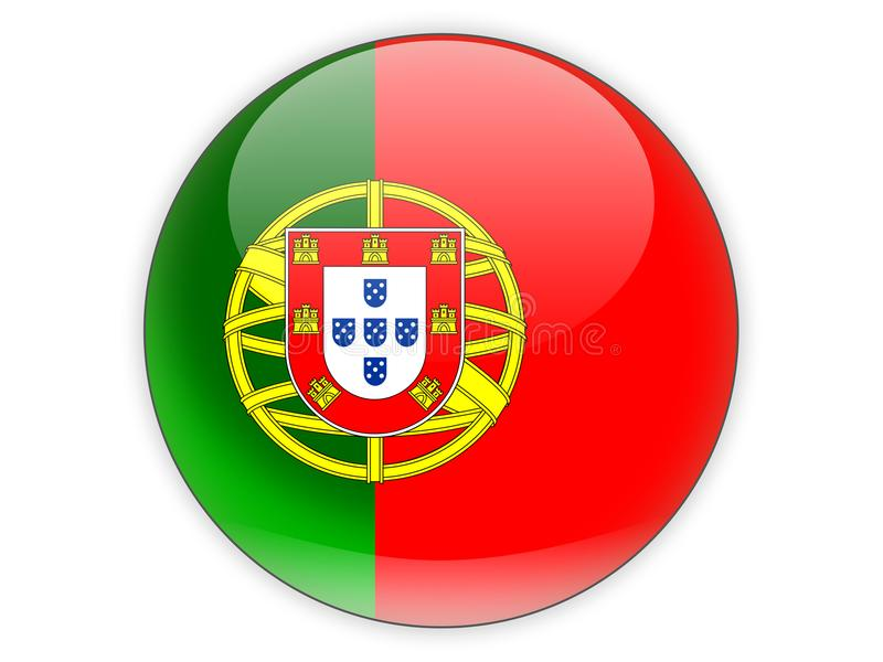 Round icon with flag of portugal stock illustration